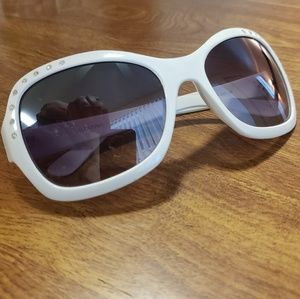 White frame sunglasses w/ decorative jewels